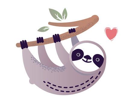 Cute vector sloth bear animal with a heart