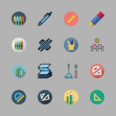 supplies icon set. vector set about pencil, pencil case, crayons and workspace icons set.