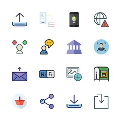smartphone icon set. vector set about share, mailing, download and chat icons set.