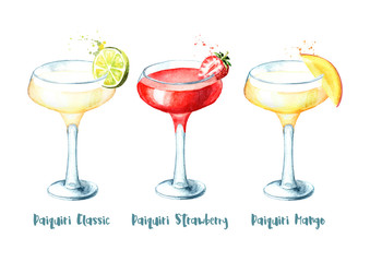 Alcohol cocktail Daiquiri variety set. Watercolor hand drawn illustration isolated on white background