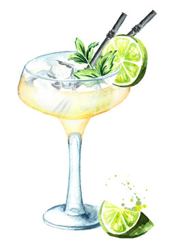 Alcohol cocktail Daiquiri with lime, mint and ice cubes. Watercolor hand drawn illustration isolated on white background