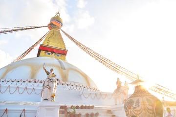 Sunset Over Boudhanath Stupa in Kathmandu City, the Capital City of Nepal