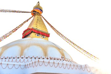 Boudhanath Stupa with Bright Light During Sunset in the Evening in Kathmandu Valley