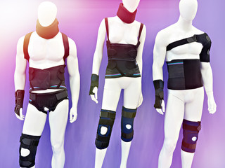 Mannequins with medical bandages on body