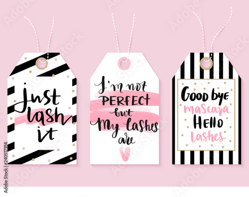 Vector fashion tags with Lashes quotes  Calligraphy phrase for lash