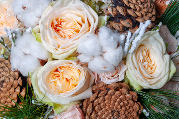 Elite bouquet of beautiful luxury flowers in the Christmas style, close-up