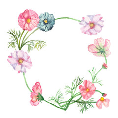 Watercolor frame, composition delicate pink and blue flowers on green stems with needle leaves isolated on white background.