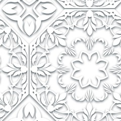 Seamless white abstract pattern. Paper style background