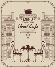 Vector menu for sidewalk street cafe with table and chairs on the background of old european town with place for text in retro style in frame with curls.
