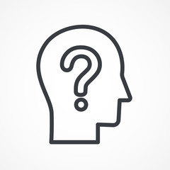Headhunting, user icon. Male profile silhouette with question mark on the head