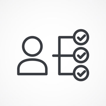 Checklist with man silhouette icon, candidate approved symbol. Vector isolated illustration.