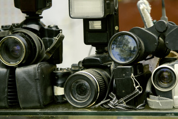 old photo equipment is dusty and not in demand.