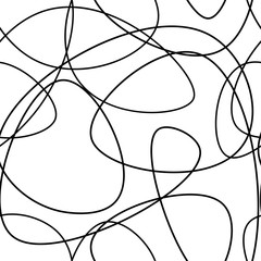 Vector abstract seamless scribble background. Fantasy modern tangled pattern. Digital tortuous design. Creative tangled composition.