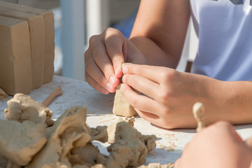 Children's active leisure clay modeling