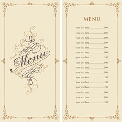 Vector menu for restaurant or cafe with a price list and a calligraphic inscription in a figured frame with curls in the Baroque style on the beige background.
