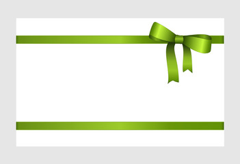 Invitation, Greeting or Gift Card With Green Ribbon And A Bow  on white background.  Gift Voucher Template with  place for text.