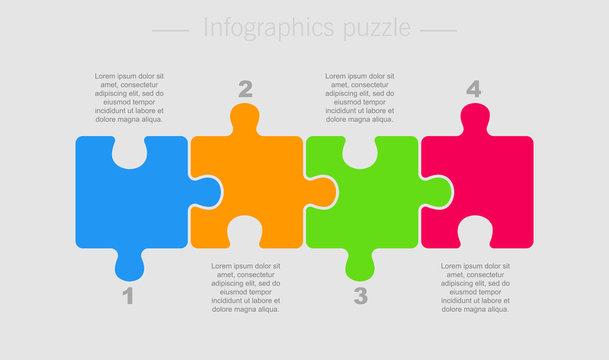 Puzzle Four Pieces Part for Business Presentation.