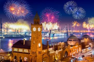 "Fireworks in Hamburg Harbor, Germany, at the pier ""Landungsbruecken""."