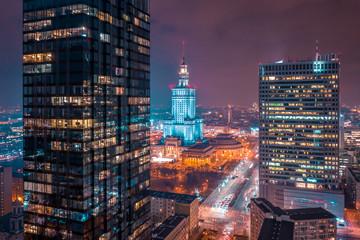 Obraz Warszawa z lotu ptaka, PKiN - fototapety do salonu