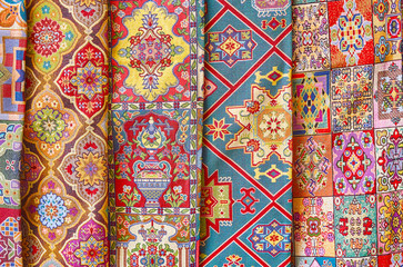 Beautiful fabrics in Chahar Souk Bazaar, Yad, Iran