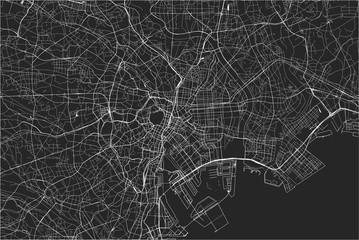 map of the city of Tokyo, Kanto, Island Honshu, Japan