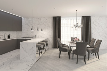 3d,apartment,architecture,background,bar chair,bar counter,chair,clean,construction,contemporary,decor,decoration,design,dining,dining room,empty,floor,furniture,gray,hall,home,hotel,house,illustratio Wall mural