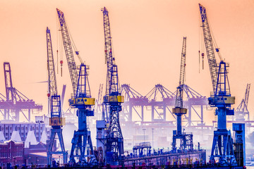 Cranes in Hamburg Harbor, Germany, seen against the late evening sky.