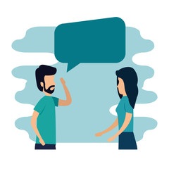 woman and man business teamwork and chat bubble