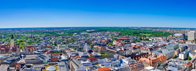 Aerial panoramic view of Leipzig, Germany, on a sunny day.