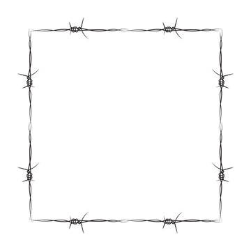barbed wire mesh frame vector