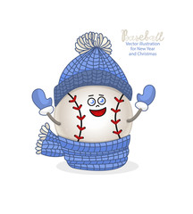 Cute children's illustration for baseball. The ball in the hat and scarf, the element for the design of children's cards for the New Year and Christmas, scrapbooking, decor. EPS file is layered.