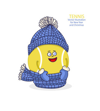 Vector children's illustration for tennis. Smiling cute ball in a hat and scarf, element for design of greeting cards, flyers, children's parties, print design for T-shirts. EPS file is layered..