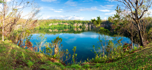 Spectacular volcanic crater lake Lalolalo in the island of Uvea (Wallis), Wallis and Futuna (Wallis-et-Futuna), Polynesia, Oceania, South Pacific Ocean. French overseas island collectivity.
