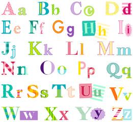 Alphabet letters isolated on white background. Colorful typography for scrapbooking, cards, invitations, stationery, nursery wall art and more. EPS file has global colors for easy color changes.