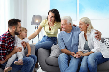 Happy family at home. Reunion of generations