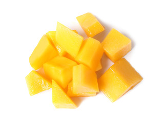 Fresh juicy mango cubes isolated on white, top view
