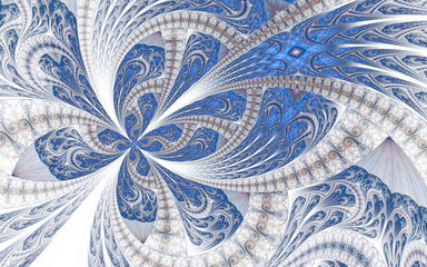 Beautiful fractal structure or butterfly in stained glass window style.