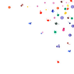 Watercolor confetti on white background. Rainbow colored blobs square corner. Colorful bright hand painted illustration. Happy celebration party background. Fair vector illustration.