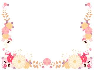 ピンク色の春の花のフレーム