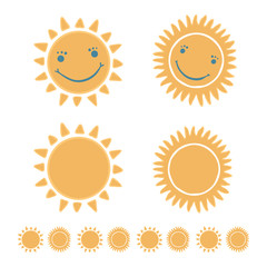 Cute cartoon sun,with happy smiling face. Hand drawn seamless repeat pattern. Day sunset, sunrise, warm weather elements illustration for baby or kids.