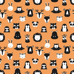 Pattern of scandinavian animals. Orange background. Vector image of fox, deer, owl, sloth, rhino, cat, hippo, giraffe, lion, penguin, hare, raccoon. For card, textile, nursery, baby shower.