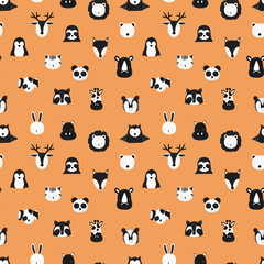 Pattern of scandinavian animals. Orange background. Vector image of fox, deer, owl, sloth, rhino, cat, hippo, giraffe, lion, penguin, hare, raccoon. For banner, card, textile, nursery, baby shower.