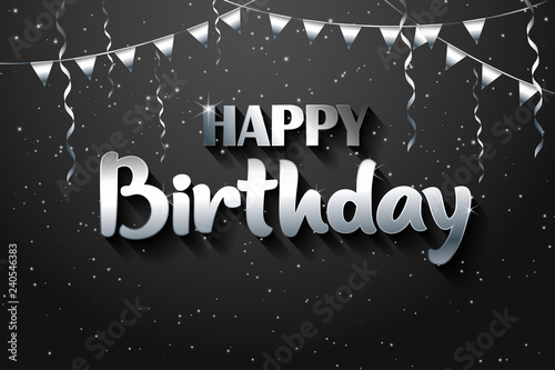 Happy Birthday Greeting Card Silver On The Black Background Logotype For Flyer Poster Sign Banner Web Postcard Invitation