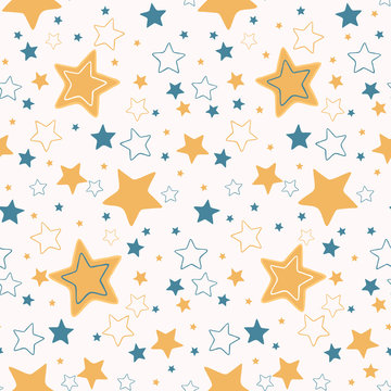 Cute vector cartoon starry sky.  Hand drawn seamless repeat pattern. Night time  magical cosmic space elements illustration for baby or kids.