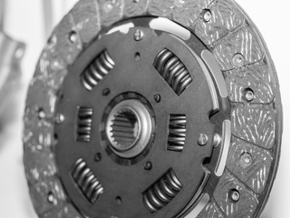 Clutch parts of the car. Clutch disc and clutch basket