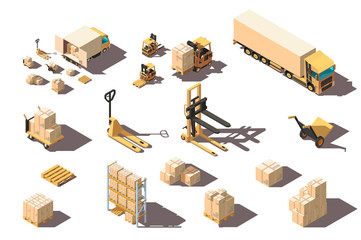 Isometric 3d set big and small shipment truck with forklift and box for delivery moving.