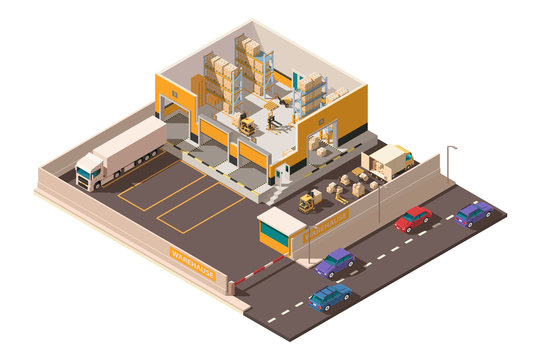 Isometric 3d warehouse with territory, parking, big shipment truck, forklift and box for delivery.