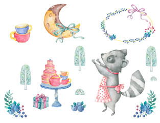 Greeting card illustration with birthday cake, roccoon, flowers and chocolate moon and blue pize box on cups pattern background watercolor style frame of flowers bow