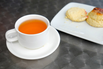 English scones set served on a table  in local restaurant in Cameron Highlands.