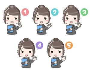 手で数字を表す書類を持った女性(バストアップ/数字あり)セット